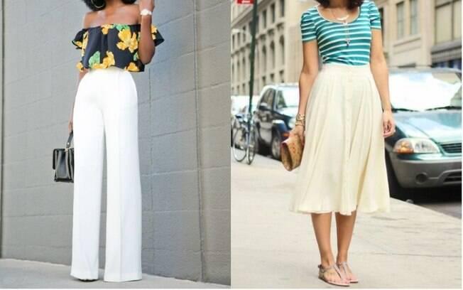 As calças pantalona (esq.) estão na lista das roupas da moda para as japonesas, já entre os calçados está a rasteirinha