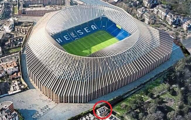 Stamford Bridge, estádio do Chelsea, e residência da família Crosthwaite (parte circulada)