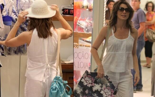Letícia Spiller faz compras em uma das lojas do shopping