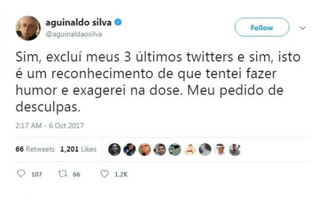 Tweet Aguinaldo Silva