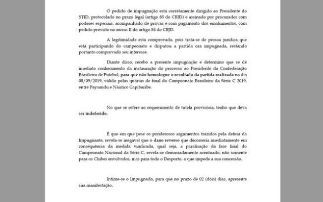 STJD aceita pedido para julgamento da impugnação do jogo entre Náutico e Paysandu