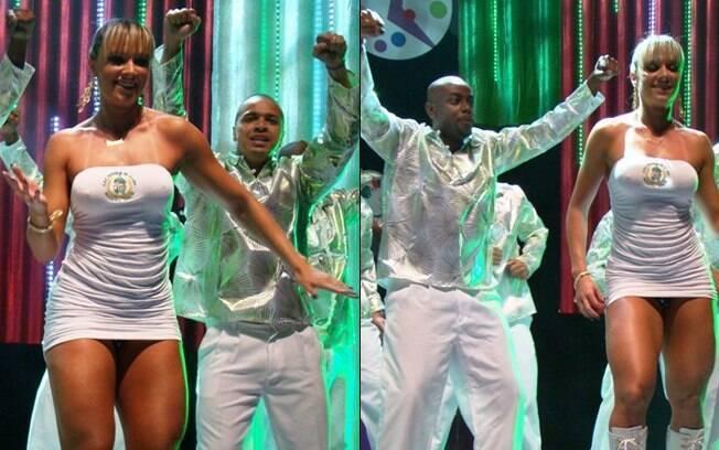 Juju Salimeni dança com os ritmistas da Mancha Verde