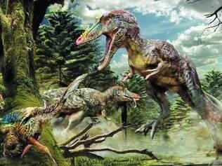 Novidade. Equipe fez desenho ilustrativo de como seria o recém-descoberto    Qianzhousaurus sinensis , o Pinóquio Rex