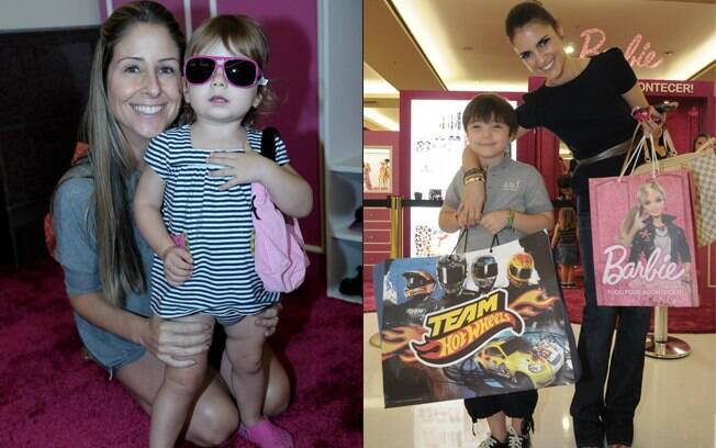 Patrícia Maldonado com Nina, e Chris Flores, com Gabriel