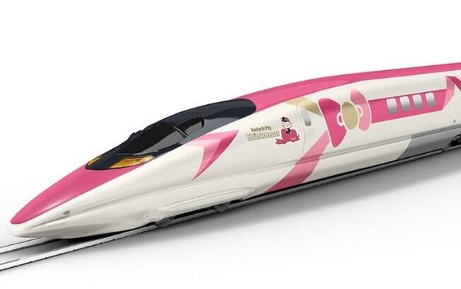 A parte externa do trem da Hello Kitty será rosa e branca e terá os enfeites de laços característicos do desenho
