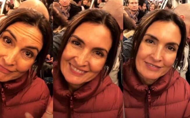 Fátima Bernardes anda de metrô em Paris