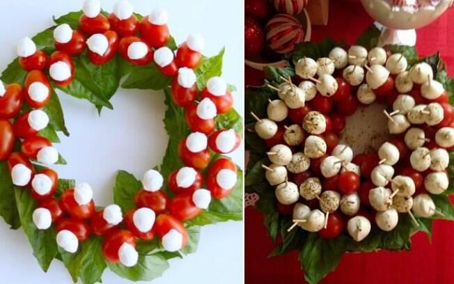 A guirlanda também pode ser comestível, montada com verduras e aperitivos e ainda se tornando um belo centro de mesa