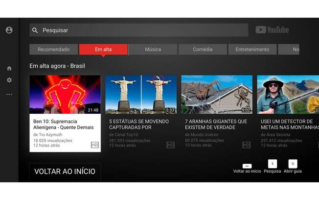 A ferramenta YouTube TV apresenta um layout e atalhos especiais para usuários que desejam assistir uma grande quantidade de vídeos com conforto.