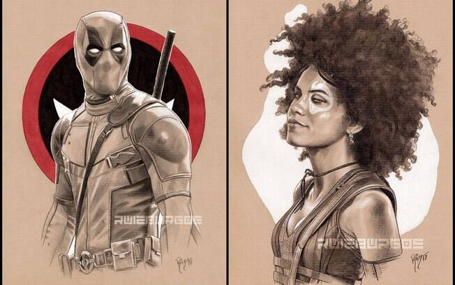 Deadpool e Dominó, personagens de