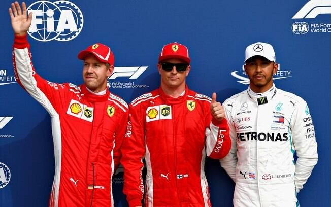 Vettel, Raikkonen e Hamilton posam logo após o treino classificatório do GP de Monza de 2018