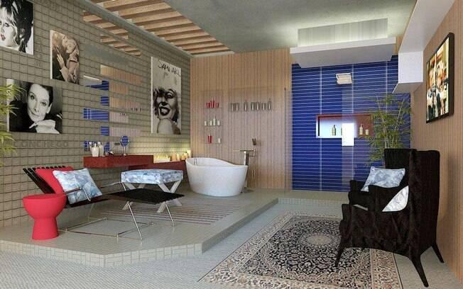 A sala de banho e o banheiro público estão integrados no espaço de Gerson Dutra de Sá. O tom azul das pastilhas e a presença do nicho em marcenaria se destacam
