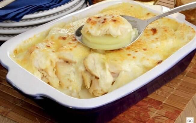 Bacalhau gratinado aos queijos