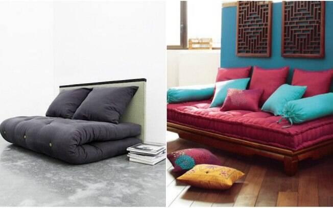 Para quem tem mais espaço disponível para montar um ambiente zen, uma boa ideia é apostar em um futon, tipo de acolchoado japonês que, dependendo do tamanho, pode até se tornar uma cama de hóspedes