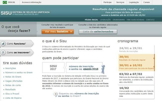 Lista de convocados na lista de espera do Sisu poderá ser acessada pelos candidatos no site do MEC