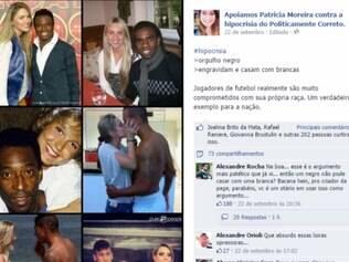 Na publicação, a página faz críticas sobre o casamento entre jogadores de futebol negros e mulheres brancas
