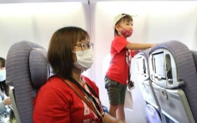 Uma empresa área de Taiwan ofereceu aos clientes a experiência de uma viagem de avião fake