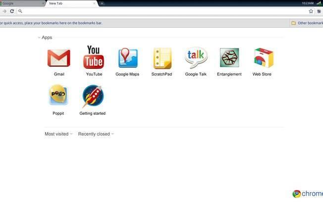 Em sua primeira versão, ChromeOS funcionava totalmente centralizado no navegador Chrome