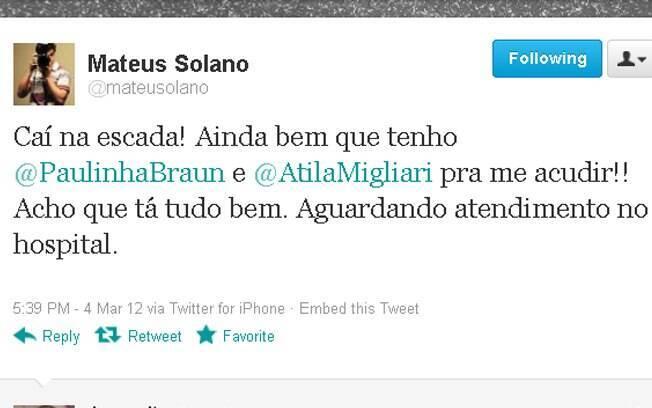 Mateus Solano conta que caiu da escada