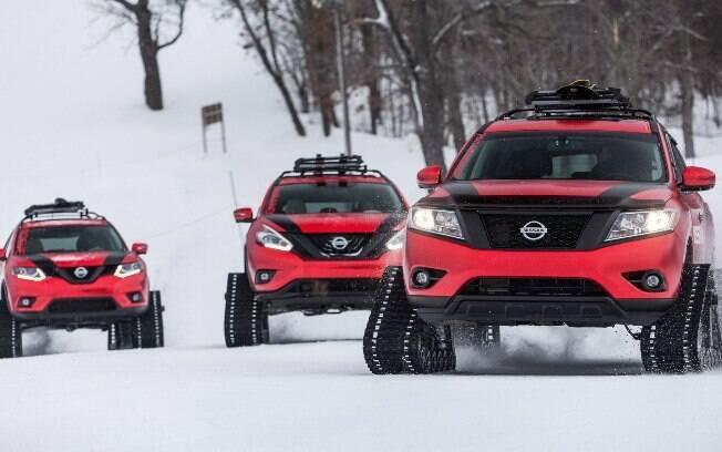 Os utilitários Rogue, Murano e Pathfinder, que a Nissan também modificou para andar na neve