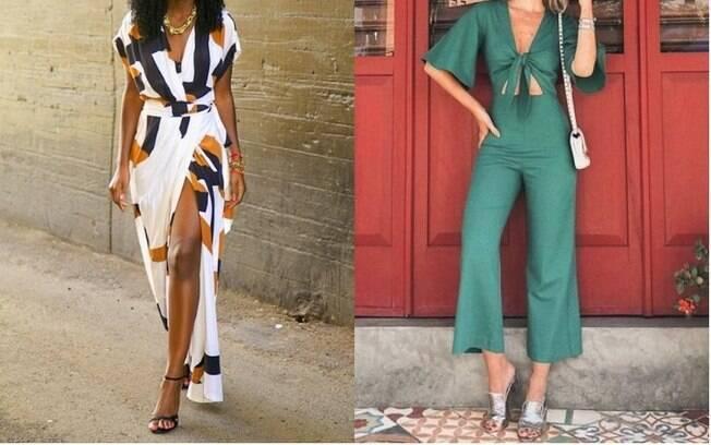 Entre as roupas da moda que estão chamando atenção na França estão o vestido transpassado (esq.) e o macacão (dir.)