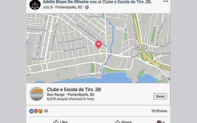 Postagem de Adelio Bispo de Oliveira no Facebook indicando que ele esteve no