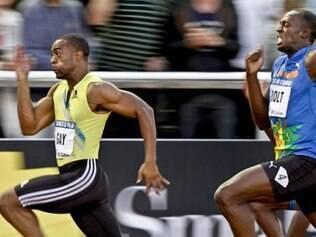 Tyson Gay (amarelo) foi suspenso por um ano e teve que devolver a prata olímpica
