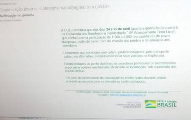 Documento enviado pelo Ministério da Agricultura alerta servidores sobre protesto