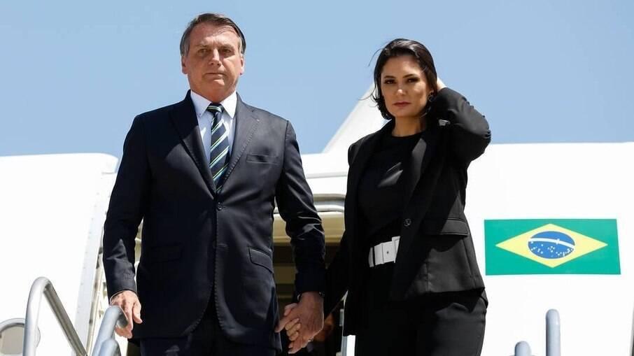 O presidente Jair Bolsonaro e a primeira-dama Michelle Bolsonaro