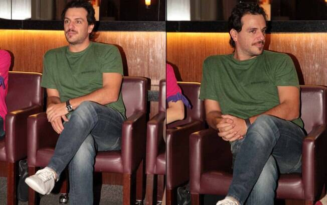 Rodrigo Lombardi durante coletiva de imprensa nesta terça-feira (27) no Teatro Raul Cortez