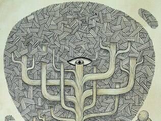Obra. Trabalho de nanquim sobre papel de Thiago Alvim relaciona a natureza à fantasia humana