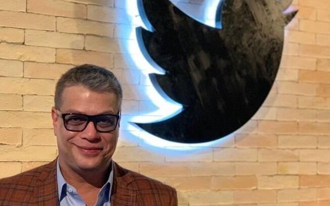 Fábio Assunção na sede do Twitter