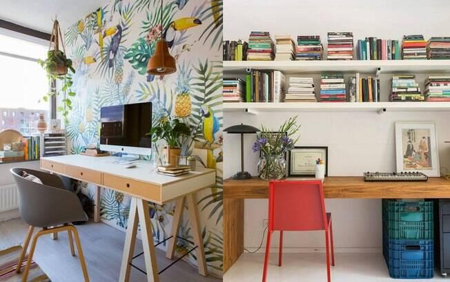 Papel de parede, luminárias, cadeira e caixas coloridas fazem o ambiente ficar leve e alegre.