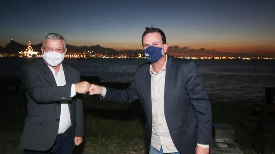 Os prefeitos Eduardo Paes e Axel Grael
