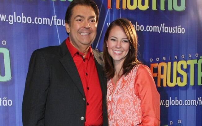 Faustão e Paola Oliveira na gravação do especial de Natal do