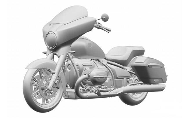 Bagger que aparece nos registros de patente da BMW, que adiciona itens como pára-brisa e pedaleiras cromadas