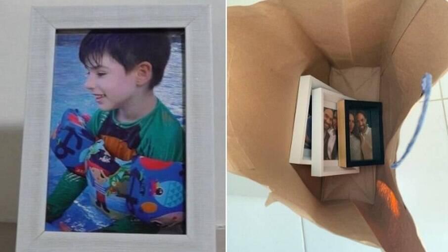Porta-retrato com foto de Henry exposto no apartamento de Dr. Jairinho e Monique, e outros guardados em sacola