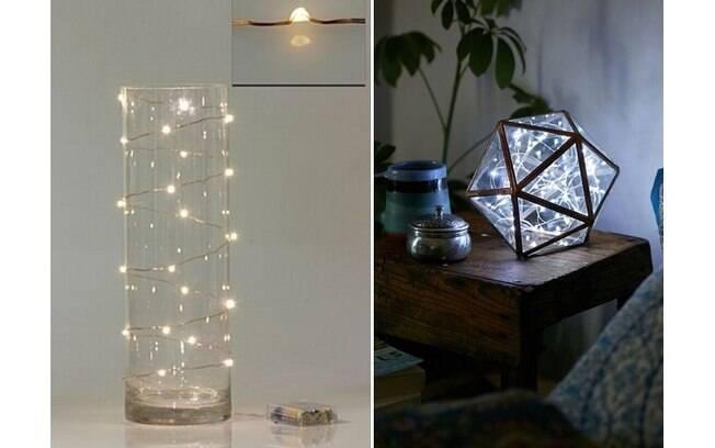 Cordões de luz são ótimos para decorar, basta colocá-los dentro ou em torno de um recipiente transparente