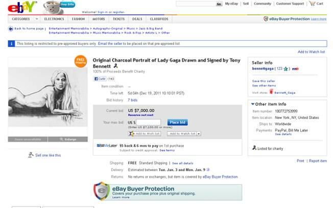Obra de Lady Gaga nua feita por Tony Bennett está sendo leiloada no Ebay