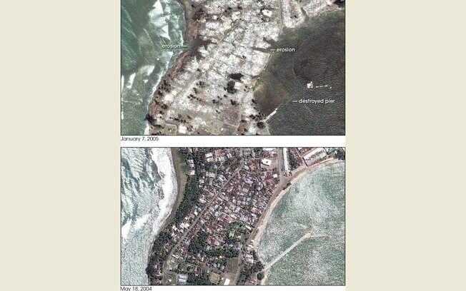 Imagens mostram o antes e o depois de regiões atingidas pelo tsunami da Indonésia (arquivo). Foto: Nasa