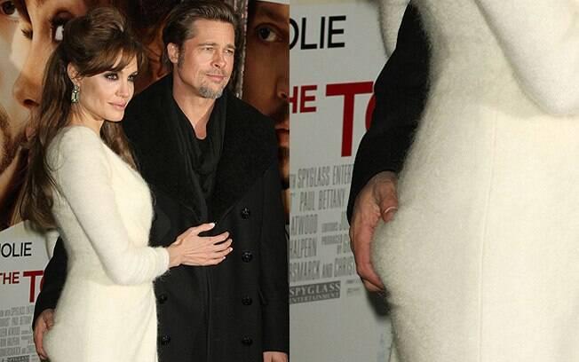 Brad Pitt e sua mão boba em Angelina Jolie