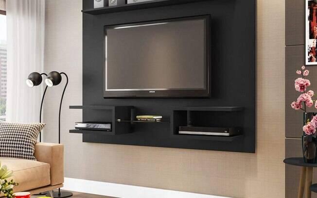 Painel para TV até 55 Polegadas Atlas Preto Fosco. O preço é de R$ 273,99