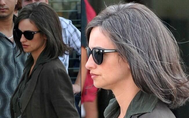 Penélope Cruz com os cabelos curtos e grisalhos para o novo filme