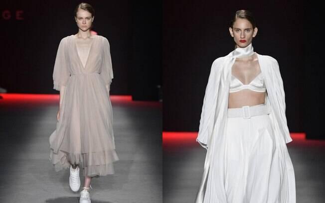 Desfile da marca Neriage na SPFW apresentou peças com decotes em V bem marcados que destacou a tendência de moda