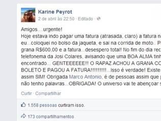 A campanha acabou chegando a Karine, que, emocionada, publicou outro texto em agradecimento ao gesto de Marco Antonio