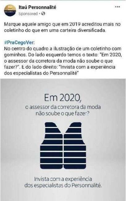 Postagem do Itaú em que provoca a XP Investimentos