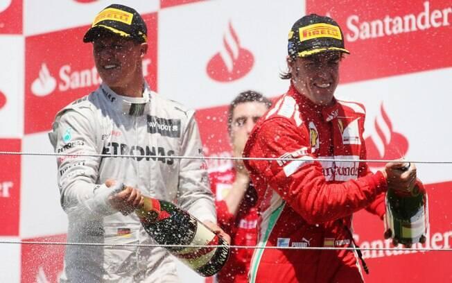 Schumacher voltou à categoria em 2010, sem o mesmo brilho. Em duas temporadas, só conseguiu subir ao pódio uma vez, em Valência, quando foi terceiro colocado. Foto: Getty Images