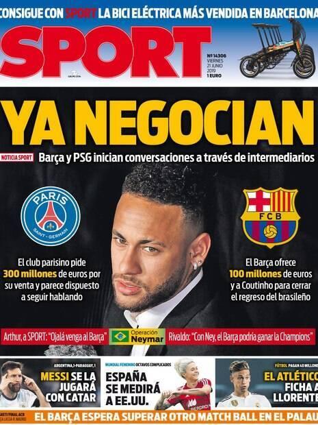 Capa do Sport com a negociação por Neymar