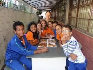 Alunos da Escola Municipal José de Madureira Horta que participam do projeto