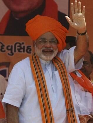 Narendra Modi durante uma campanha em Kathlal, na Índia, em 21 de abril de 2009