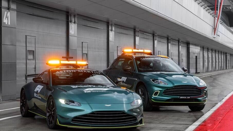 Aston Martin Vantage e DBX vão revezar com os Mercedes-AMG na função de carros de apoio da Fórmula 1